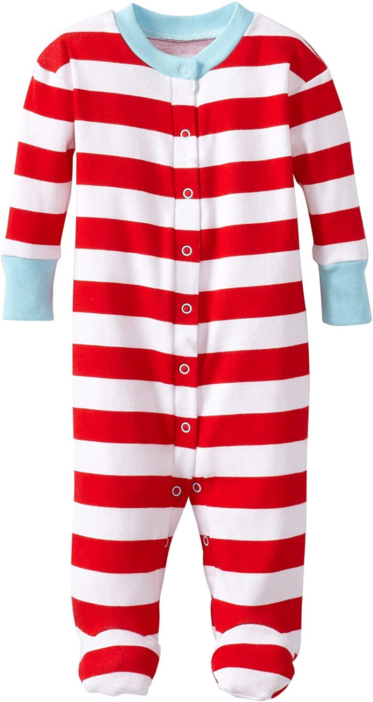 New Jammies Boys' Baby Newborn Organic Classic Stripes with Blue Trim Footie