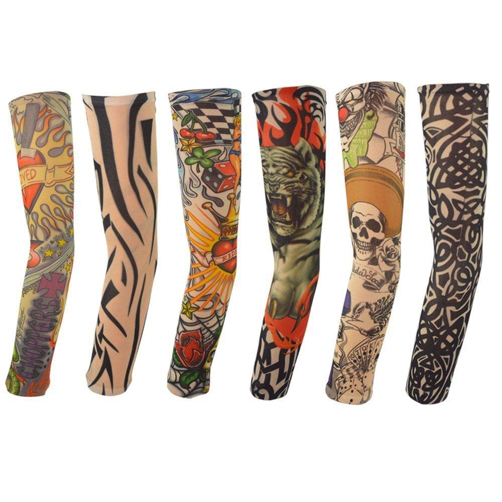 6PCS New Nylon Elastic Fake Temporary Tattoo Sleeve Designs Body Arm Stockings Tatoo for Cool Men Women