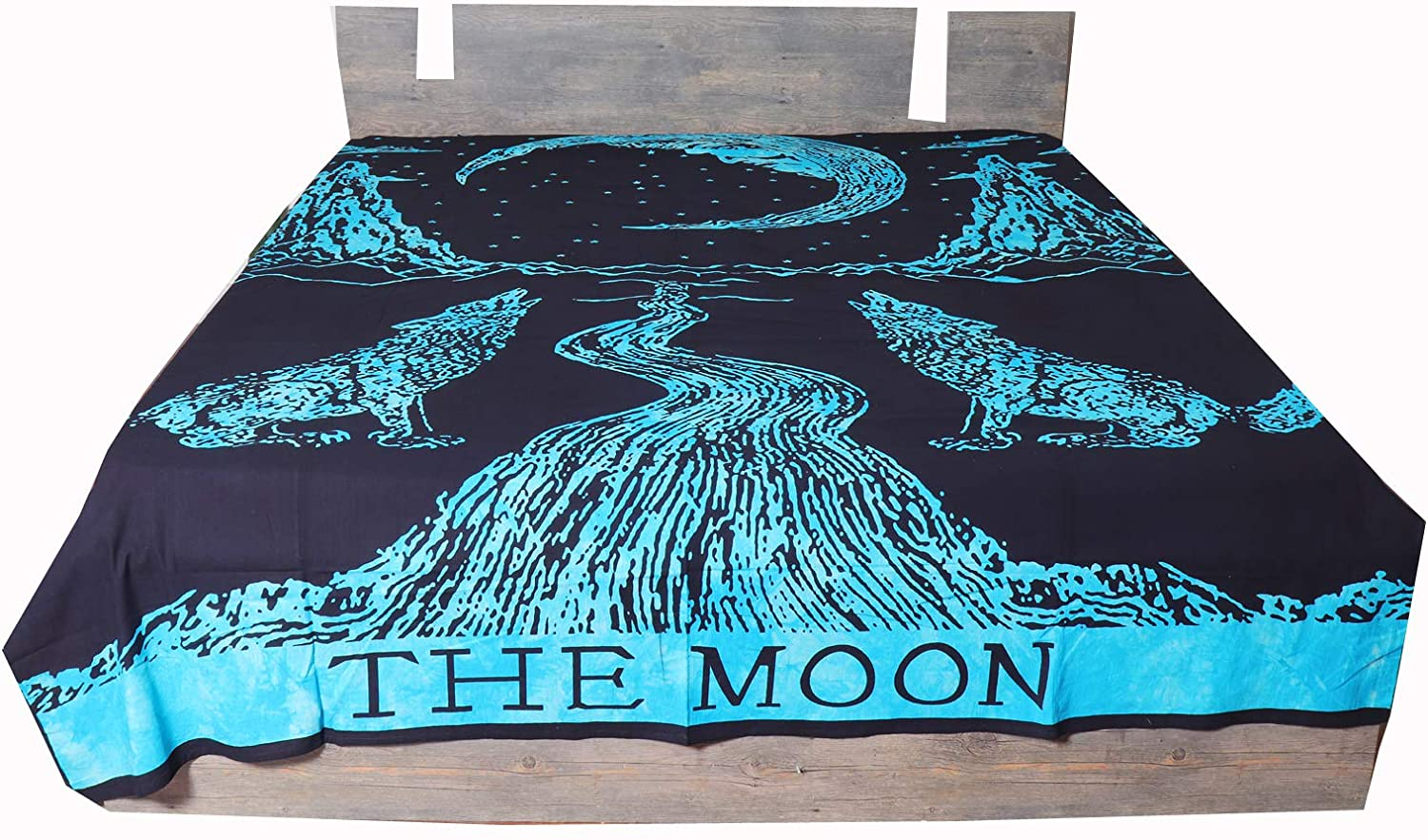 Bhavya International 100% Cotton Blue and Black Moon Bedding for Kids King Queen Size,Moon Bed Cover