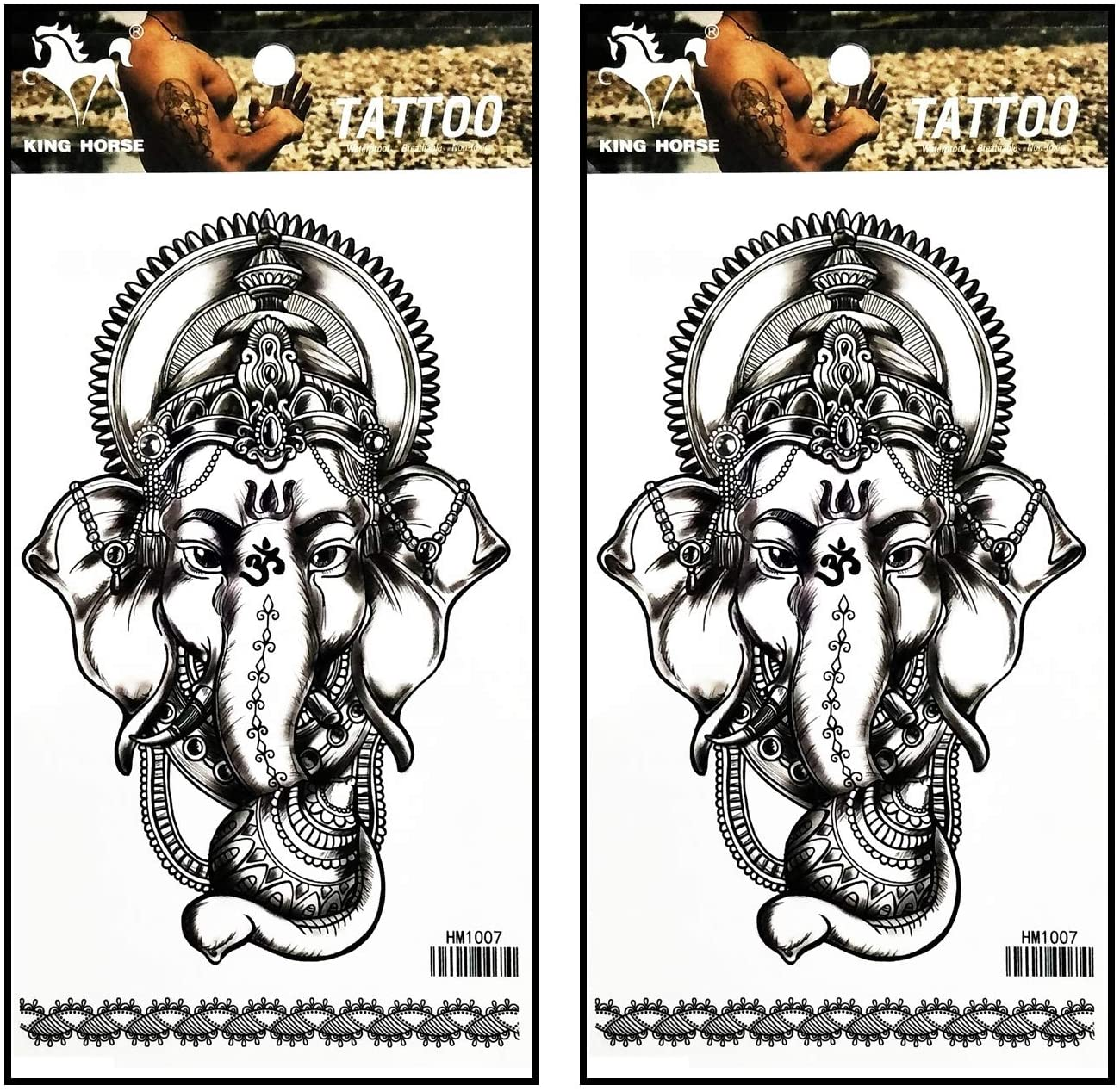 Tattoos 2 Sheets Elephant Buddha Ganesh Flowers Henna Temporary Tattoos Body Art Stickers Fake Waterproof Removable Stickers Party for Teens Men Women