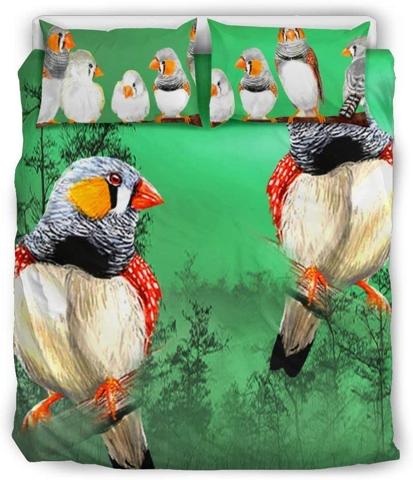 Paws With Attitude Zebra Finch Bird Print Bedding Set