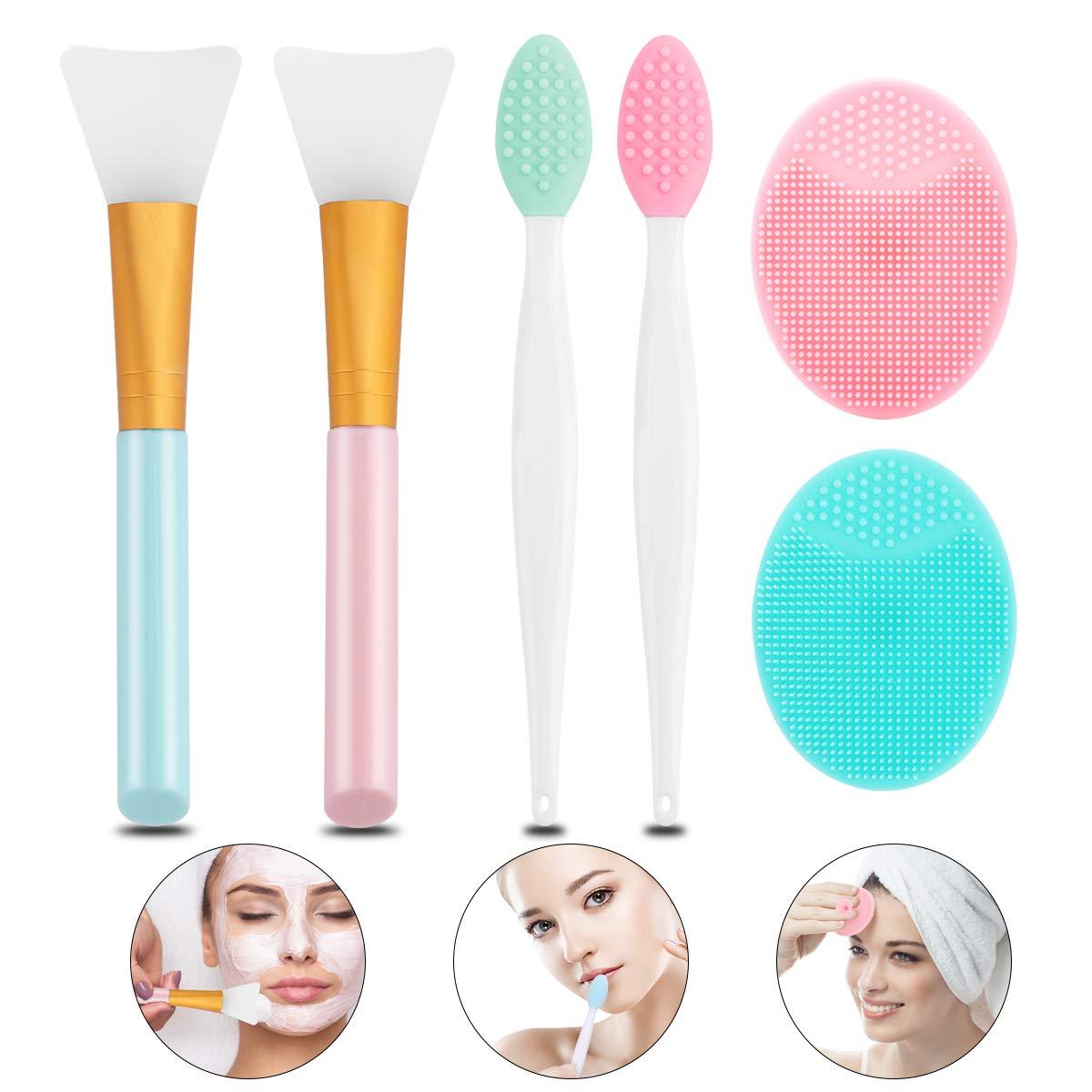 Lip Scrub Brush - LIONVISON 2pcs Silicone Exfoliating Lip Brush, 2pcs Silicone Face Mask Brush Soft Facial Mud Mask Applicator Brush and 2pcs Silicone Face Scrubbers Exfoliator Brush