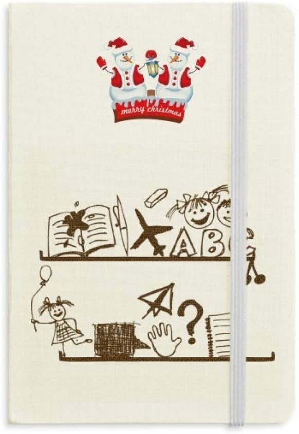 Childlike Children Cute Illustration Bookshelf Christmas Snowman Notebook Thick Hardcover