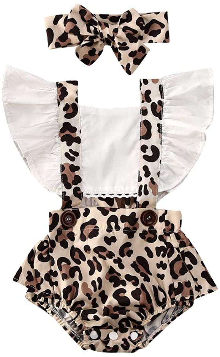iddolaka Newborn Baby Girl Summer Clothes Suspender Button Romper Ruffle Jumpsuit Leopard Bodysuit Outfits