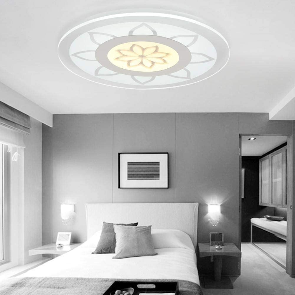 BOSSLV Metal Iron Art Acrylic Round Bedchamber Ceiling Light Warm Romantic Led Ceiling Lamp Simple Modern Stylish Parlor Restaurant Study Lamp Energy Saving Lighting [Energy Class A