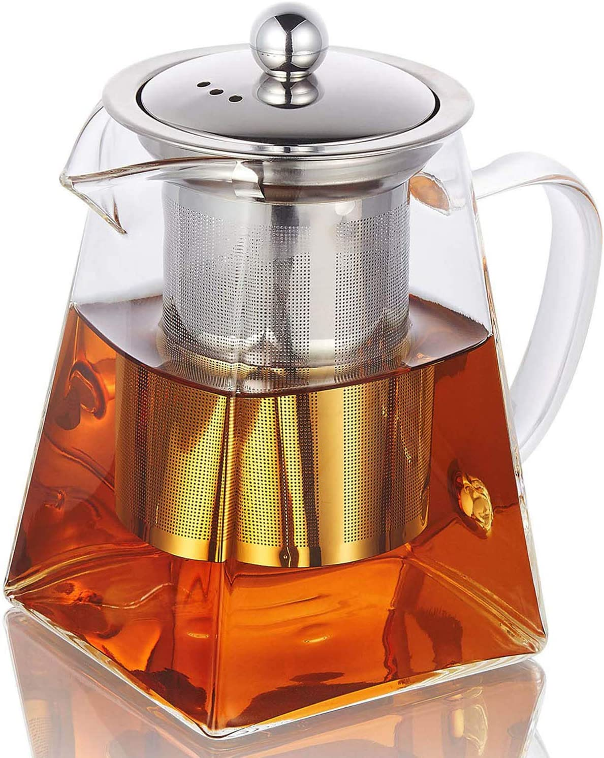 CoreLife Glass Teapot with Infuser/Removable Steel Strainer Tea Maker 750ML Kettle for Loose Tea (25 oz.)