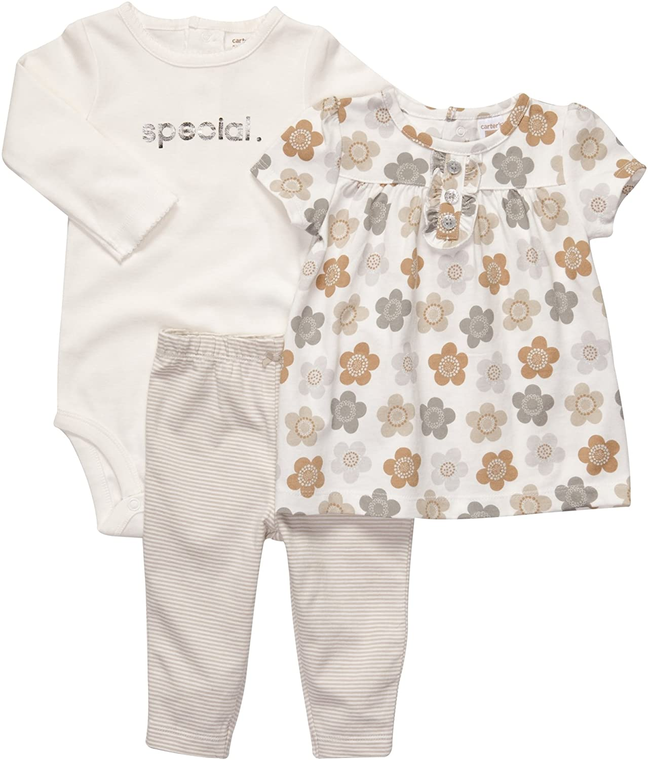 Carter's Baby Girls' 3 Pc Bodysuit and Tunic Set