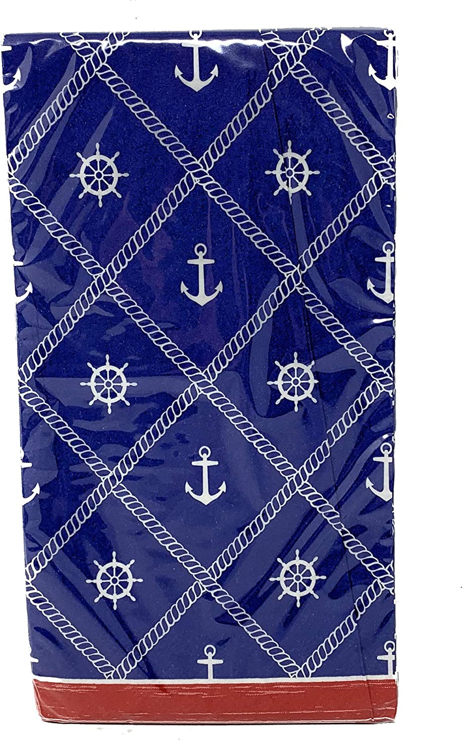 Coastal Living Seascapes 2-ply Guest Towels Buffet Hostess Paper Napkins, 20-Count, Summertime (White Ships Wheel and Anchors on Blue)