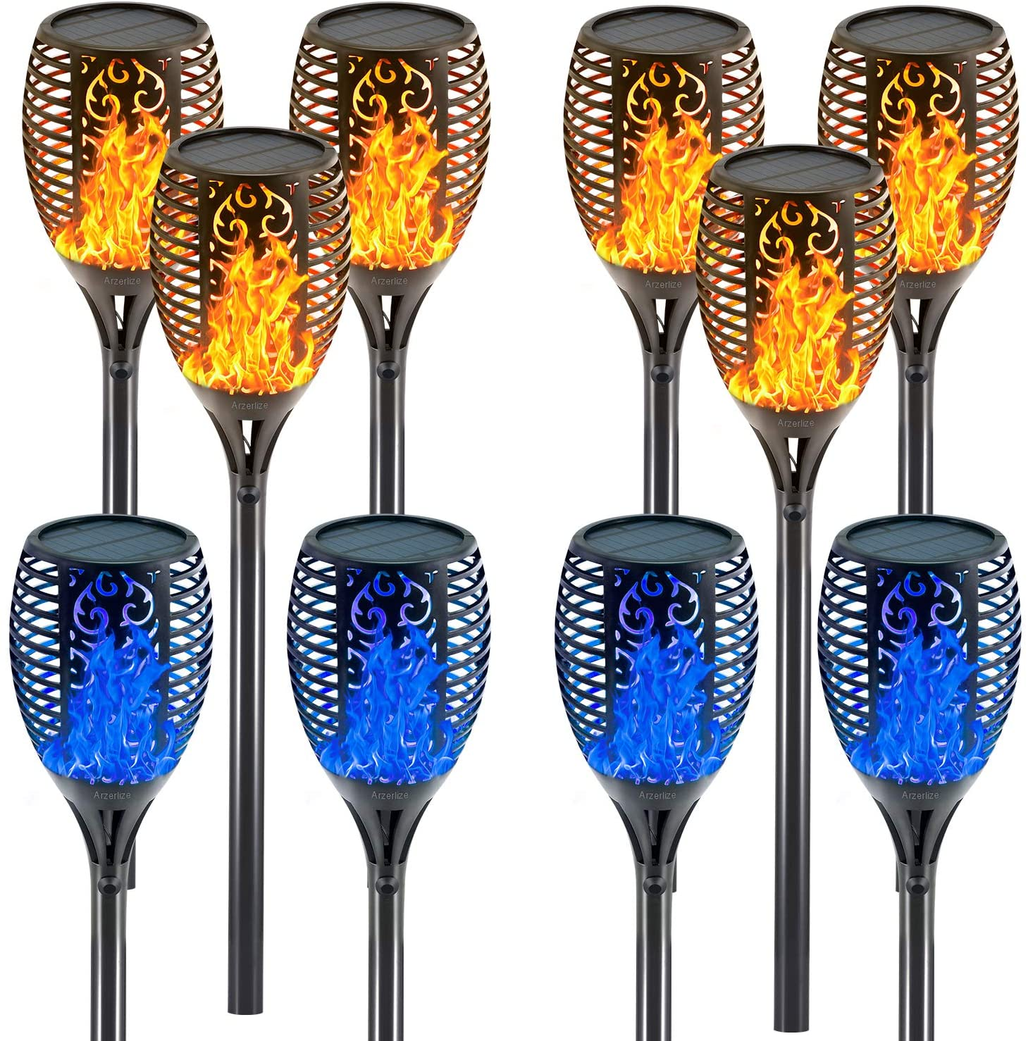 arzerlize Solar Lights Outside Colorful 10Pcs Blue&Yellow Tiki Torches Solar Flame lamp Torch Realistic Dancing Flame Yard Decor Garden Decorations Outdoor Waterproof Value Combination