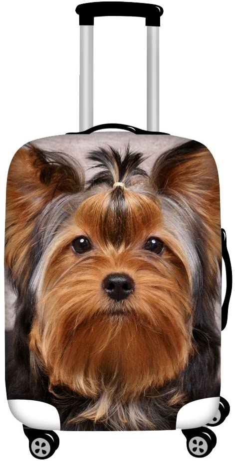 INSTANTARTS Funny Yorkshire Terrier Brown Luggage Covers Protector Apply to 26-30 inch Suitcase L
