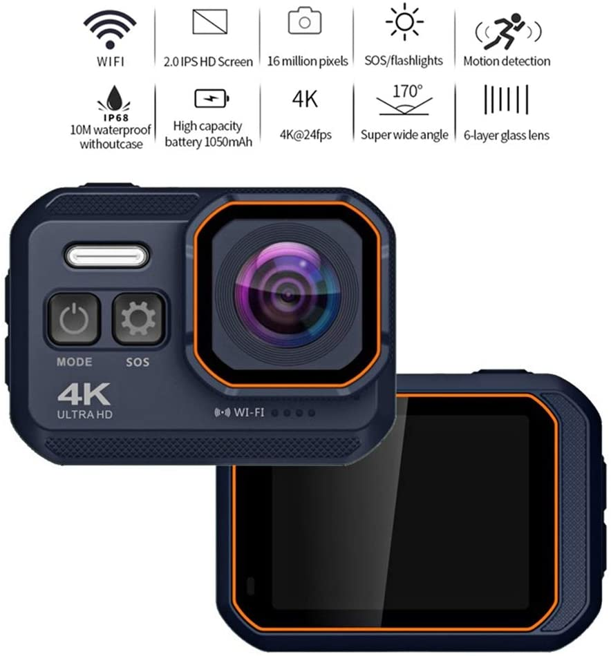 ZCFXGHH 4K WiFi Action Camera IP68 Waterproof Diving Camera with 2.0 inch IPS Screen 16MP Ultra HD Sport Camera Sports DV Wide,1