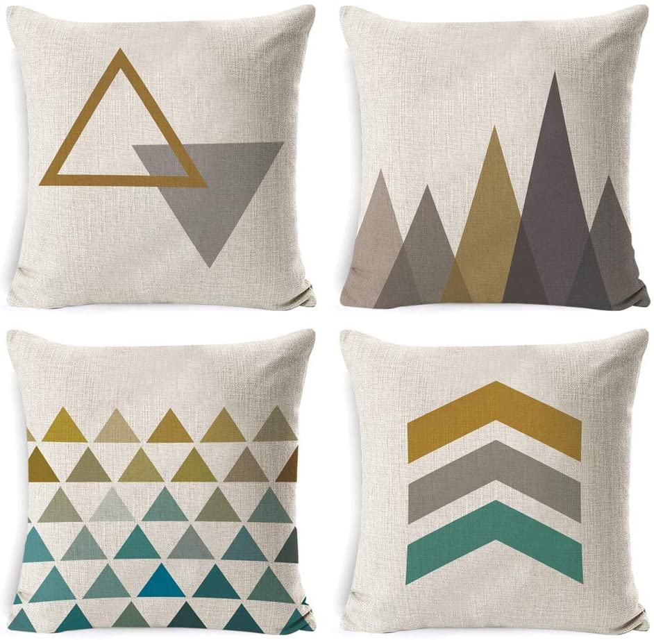 DUSEN Decorative Throw Pillow Covers for Couch, Sofa, or Bed Set of 4 18 x 18 inch Modern Quality Design Cotton Linen Cusion Cover (Yellow-Green Geometric)…