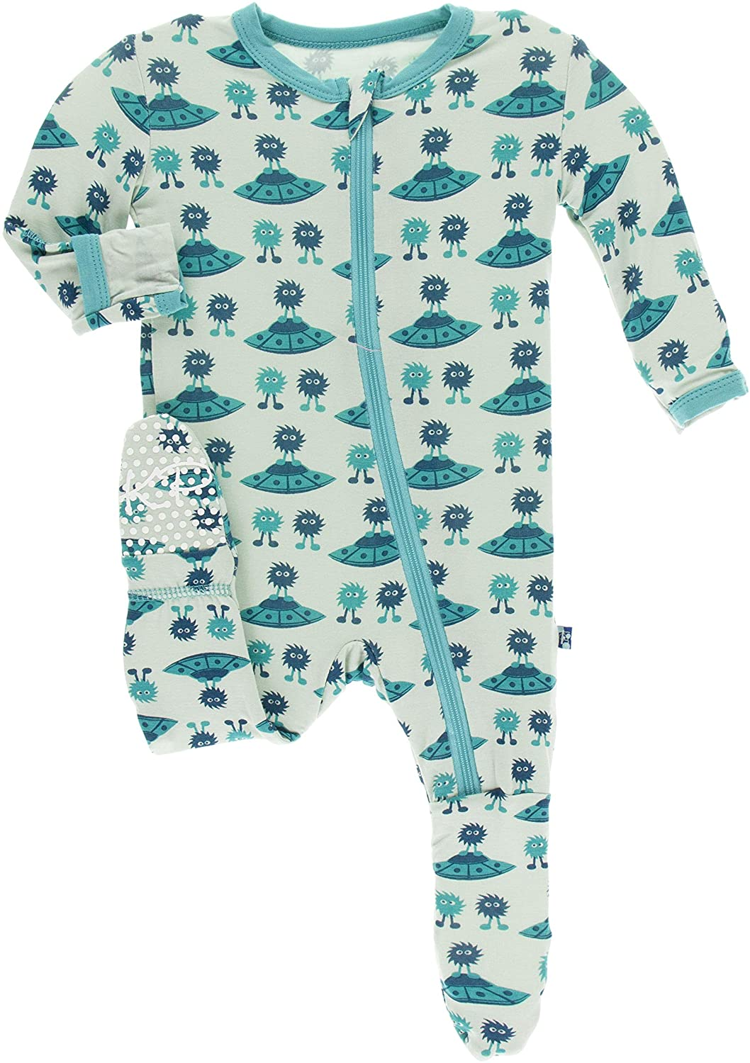 KicKee Pants Print Footie with Zipper (3T, Aloe Aliens with Flying Saucers)