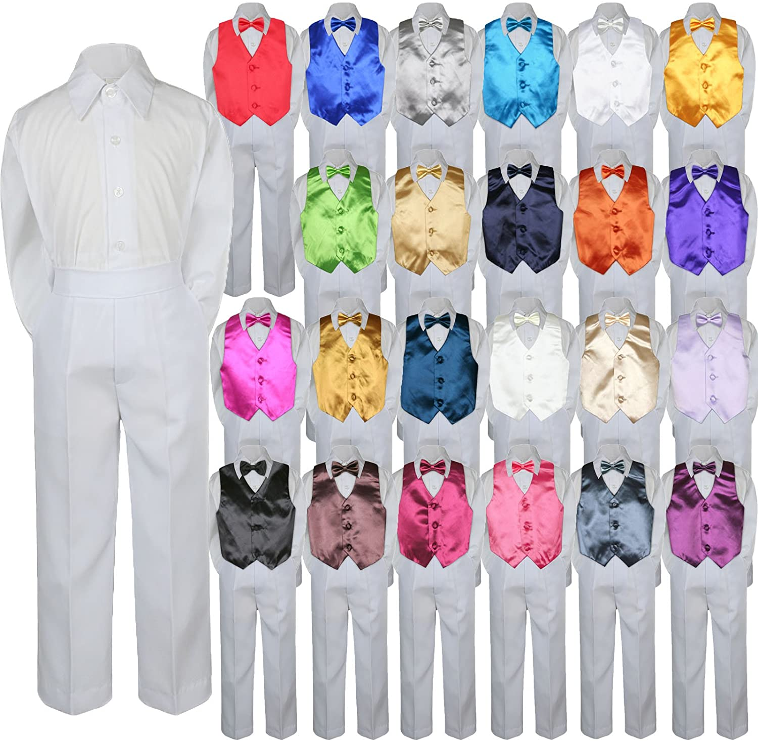 4pc Baby Toddler Kid Boy Formal Suit White Pants Shirt Vest Bow tie Set 5-7