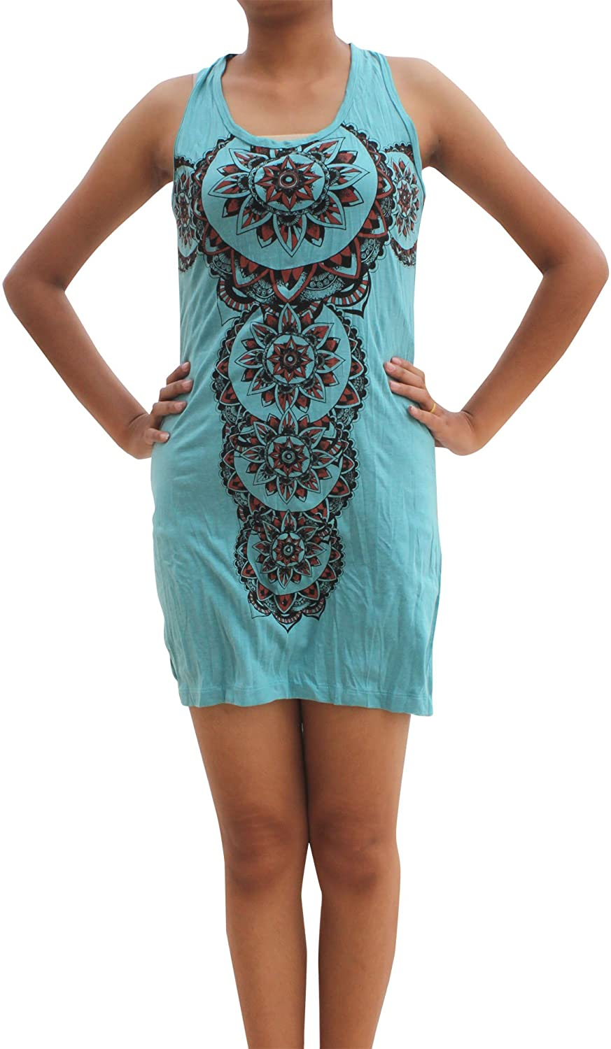 RaanPahMuang Short Cotton Ladies Sleeveless Dress India Serenity Starburst Print