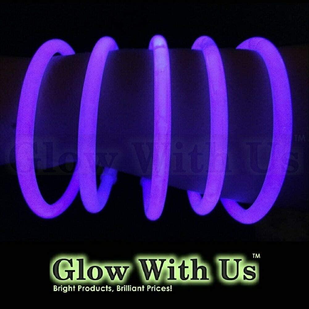 "Glow Sticks Bulk Wholesale Bracelets, 100 8"" Purple Glow Stick Glow Bracelets, Bright Color, Glow 8-12 Hrs, 100 Connectors Included, Glow Party Favors Supplies, Sturdy Packaging, GlowWithUs Brand…"