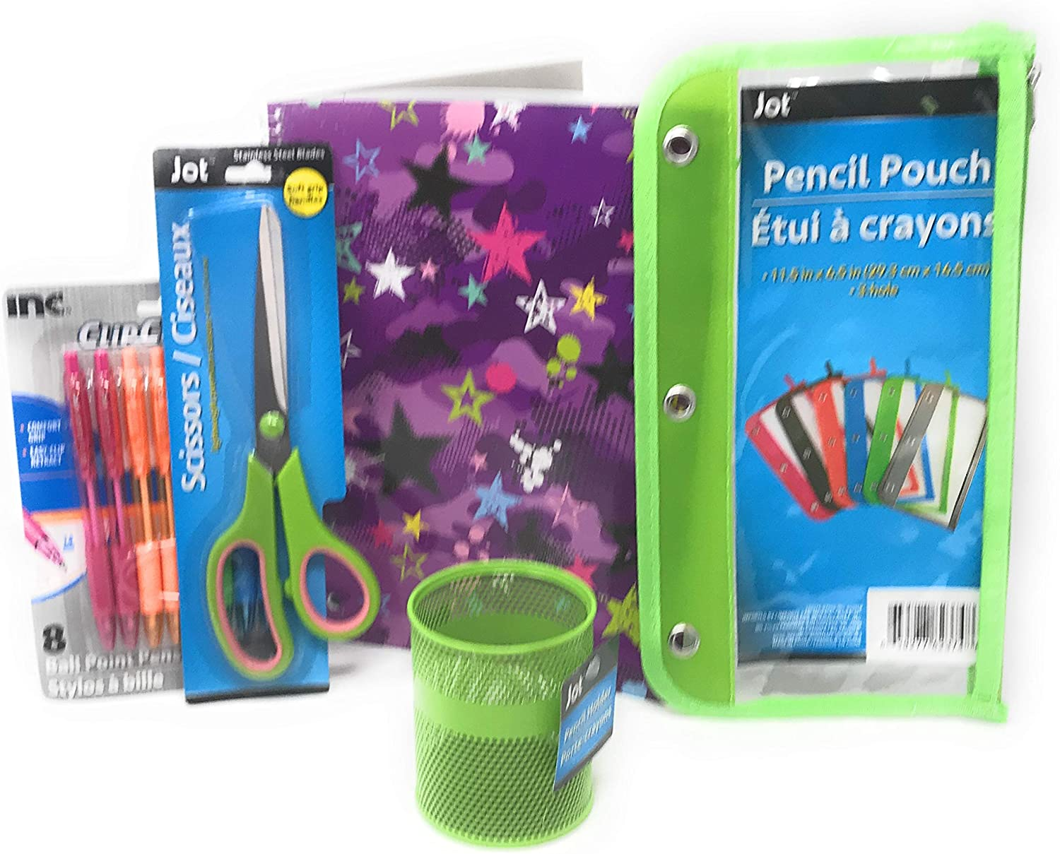 Back to School Be a Star Bundle, Includes 1 Star Notebook (70 sheets), 1 Pencil Holder, 1 Pencil Pouch, 1 Pair of Scissors, and 1 Pack of Colored Pens (8 pens)