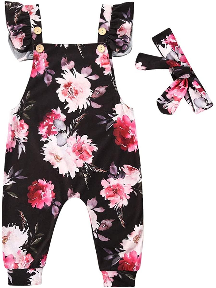 Newborn Baby Girls Ruffle Floral Romper Jumpsuit Short Sleeve/Sleeveless Bodysuit Headband Summer Clothes Outfits
