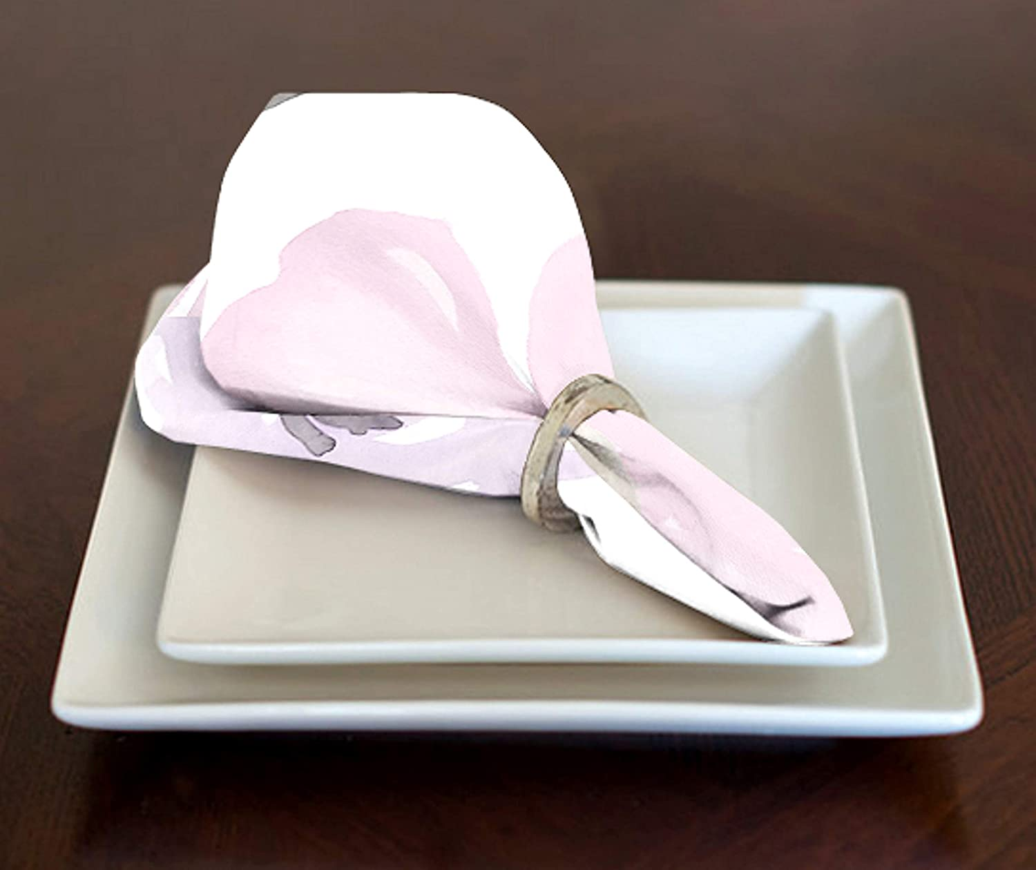 Lavender Purple, Pink, Grey and White Shabby Chic Watercolor Rose Floral Lunch, Dinner Napkins 17