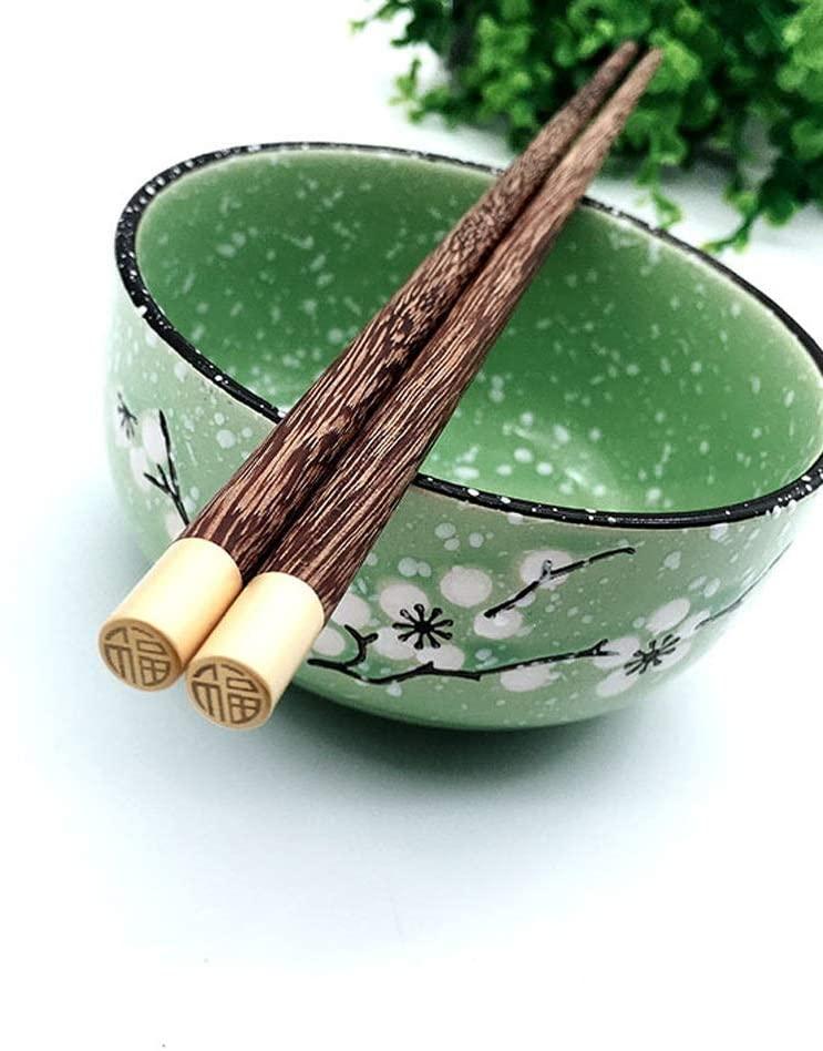 RuiXia High-end Tableware/Chopsticks Gift Box, Wooden Chopsticks, Tasteless/Environmentally Friendly, Restaurant/Home/Gift, Non-Slip High Temperature Resistance, 25cm, A Set of 5 Pairs Pretty