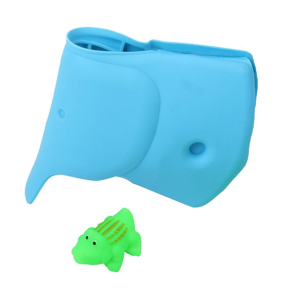 Bath Faucet Cover for Baby Bathtub Spout Cover for Kids Bath Tub Spout Dispenser Tap Protector for Safe Bathing, Universal Fit, Blue Elephant - Cute Crocodile Toy