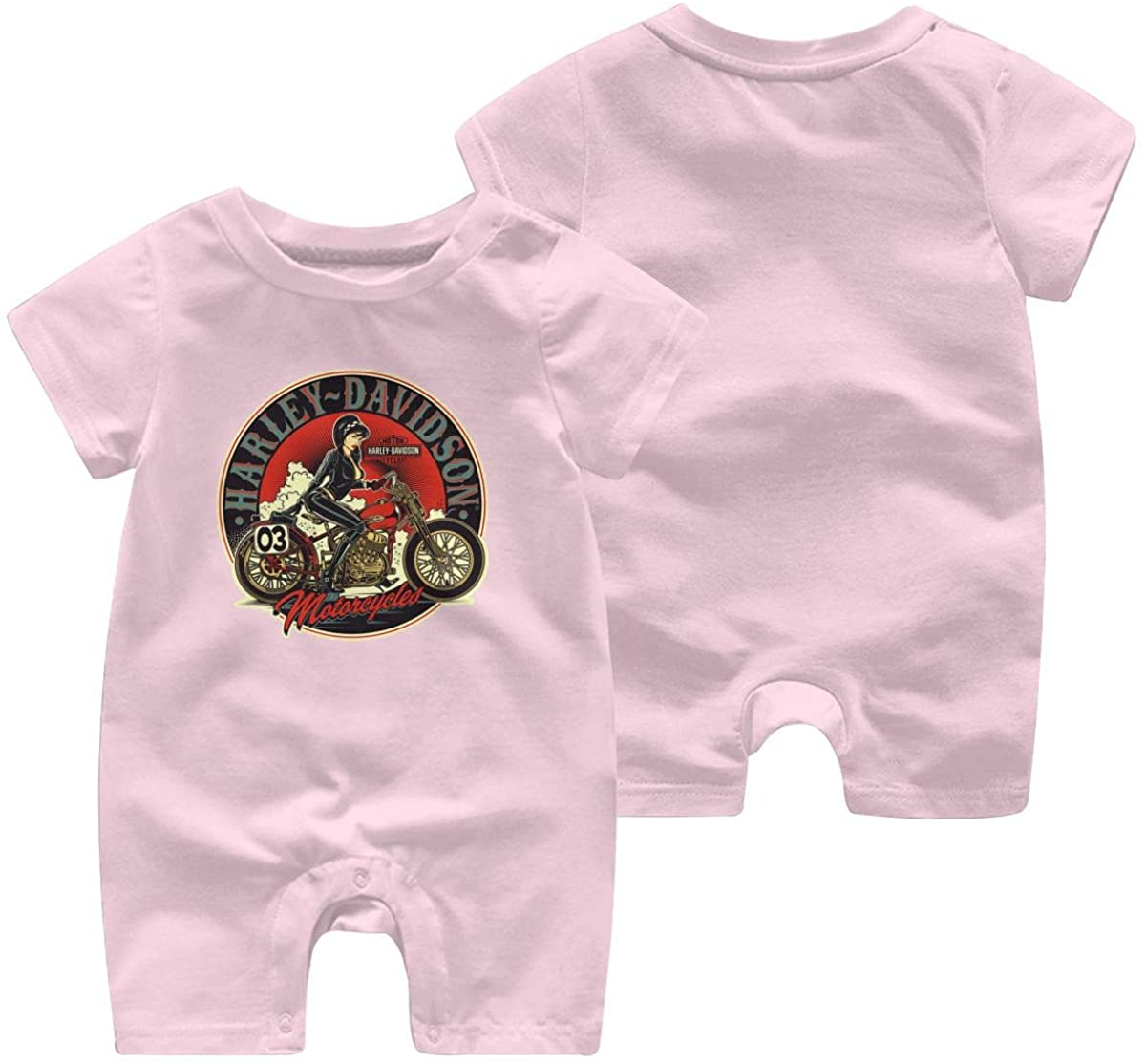 Harley Davidson One Piece Outfits Baby Solid Color Rompers with Button Kids Short Sleeve Playsuit Jumpsuits Cotton Clothing 12 Months Pink