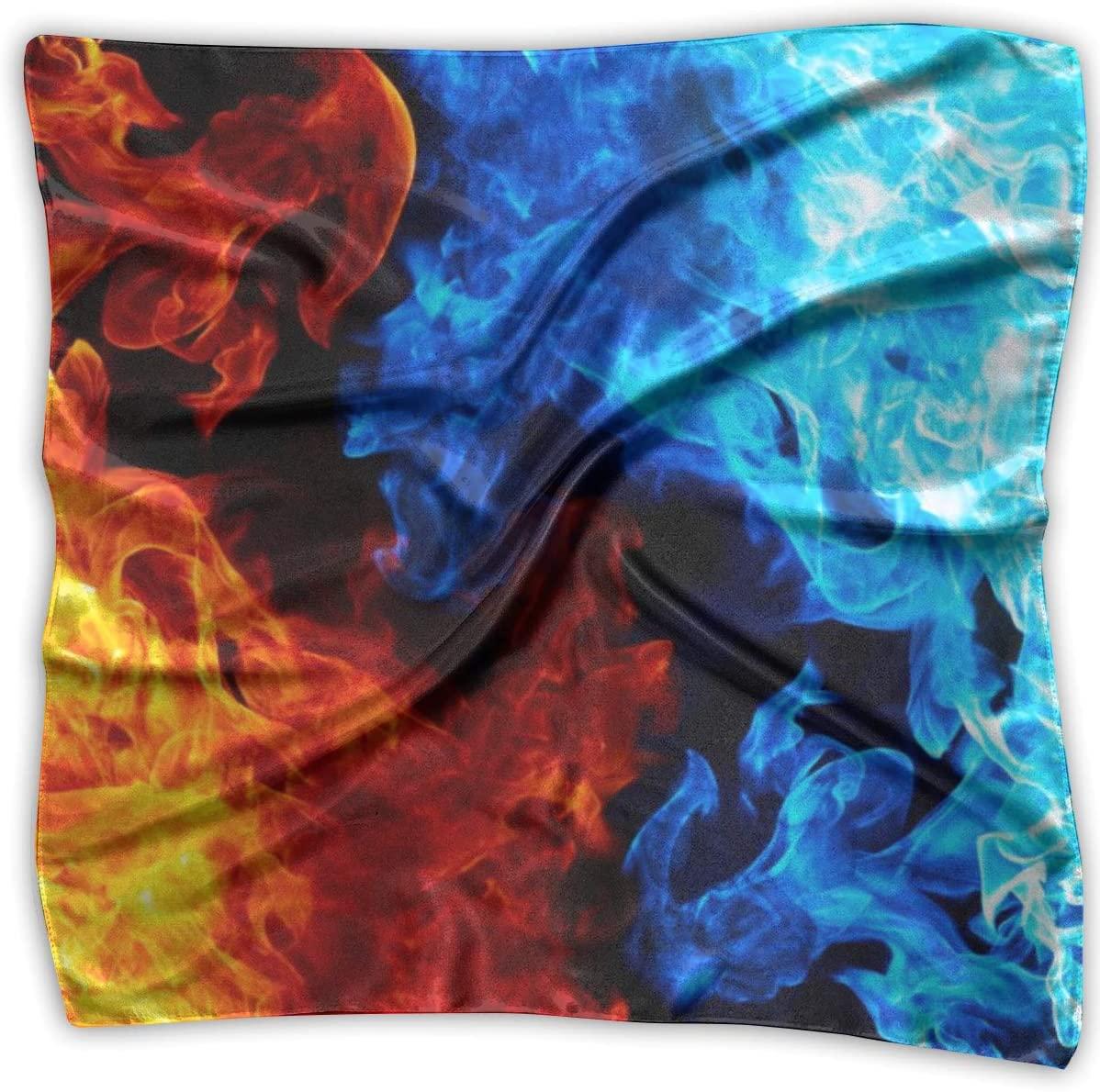 WFIRE Blue and Red Flames Square Handkerchiefs Scarf Shawl Bandanas Headscarf Neckerchief