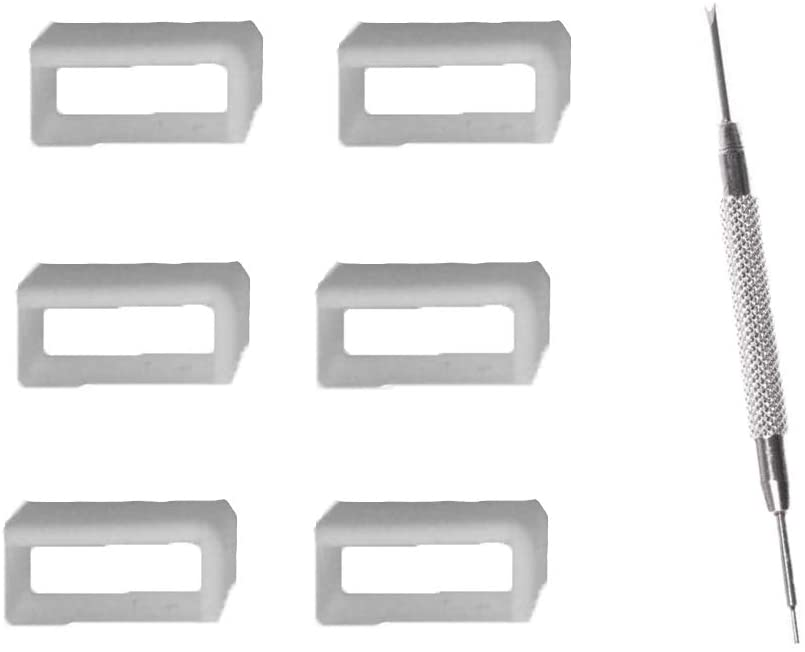 JJDD 6Pieces 22mm white replacement Rubber watch band loops with 1 spring bar disassembly tool