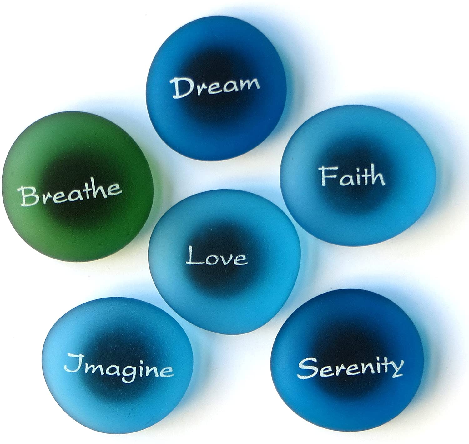The Mermaid's Message Magnets: Inspiring Words on Frosted Sea Glass Magnets. By Lifeforce Glass. Set II