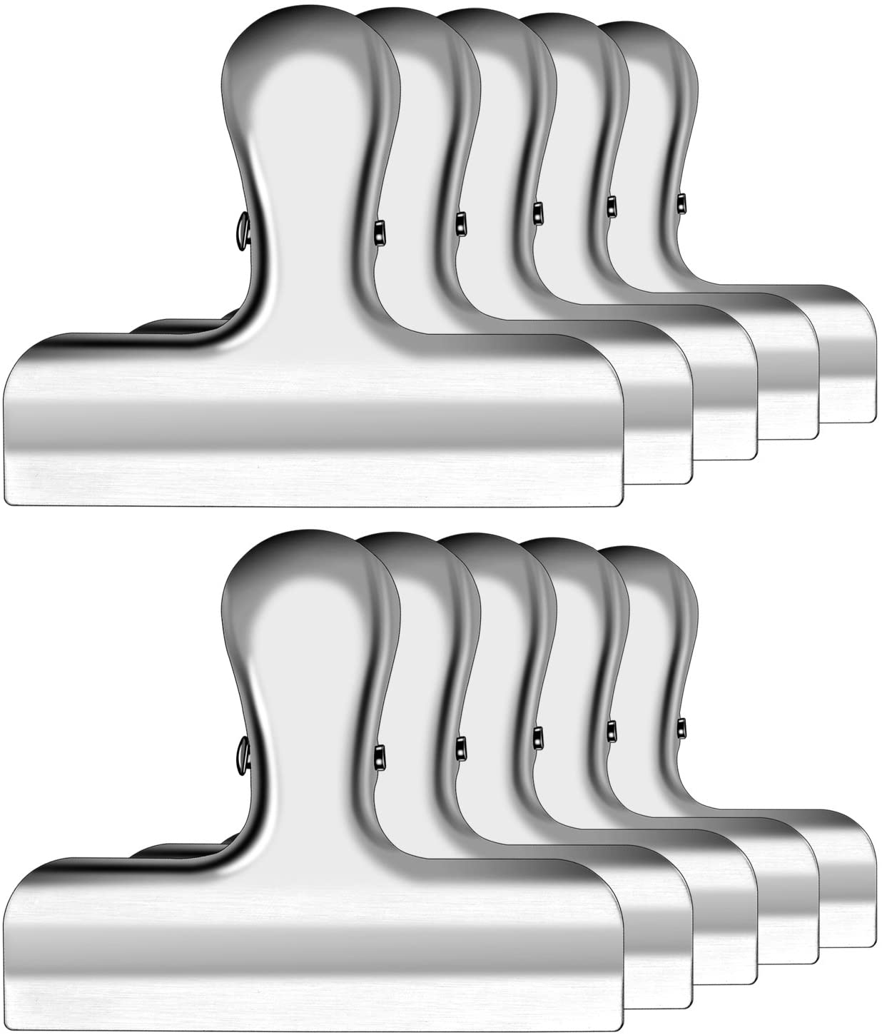 IPOW 10 Pack 3 Inch Wide Stainless Steel Solid Fresh-Keeping Chip Clips Heavy Duty Food Bag Clamp,All-Purpose Air Tight Grip Clips for Kitchen Office to Seal Coffee Bags,Paper Sheets