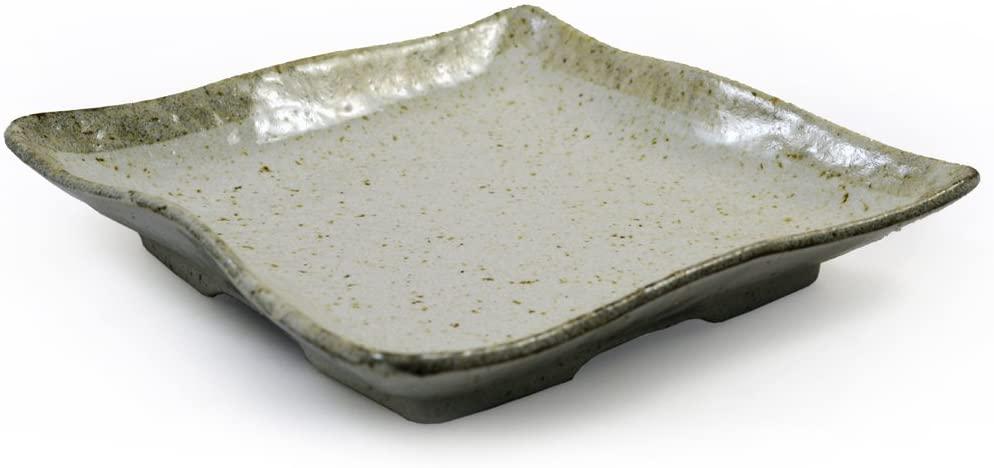 Japanese Ceramic Square Plate for Sushi & Asian Cuisine in Beige Glazed Stoneware 18cm