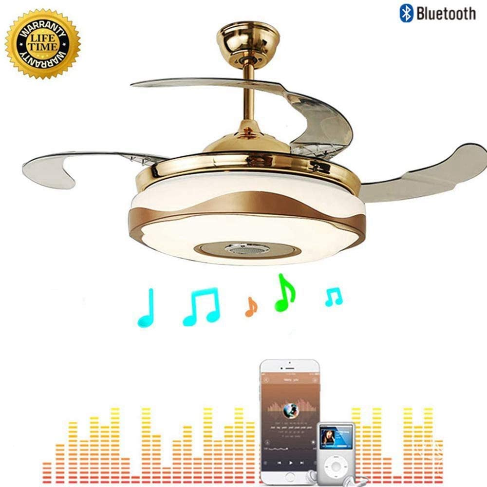 42 Inch Bluetooth Ceiling Fans with Lights and Remote Control, Retractable Chandelier Fan Lighting with Speaker Play Music 7 Colorful Dimmable Fixture for Living/Dining Room 36W
