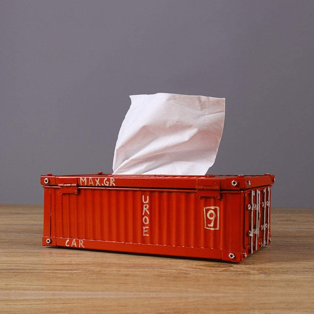 zZZ Retro Shipping Containers Pumping Tray Home Decoration Creative Industries Wind KTV Bar Tiegui Tissue Boxes Decoration (25 14 8.5CM) Fashion and Elegance (Color : Red)