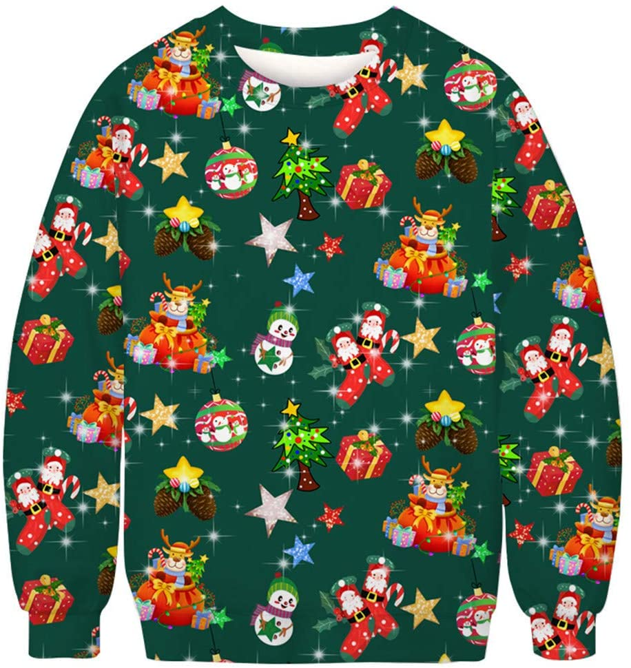 shamoluotuo Adult Ugly Christmas Sweatshirt Fun Ugly 3D Pet Santa Snowman Print Ugly Shirt Pullover for Men Women for Ugly Sweater Christmas Party Long Sleeve Top Blouse