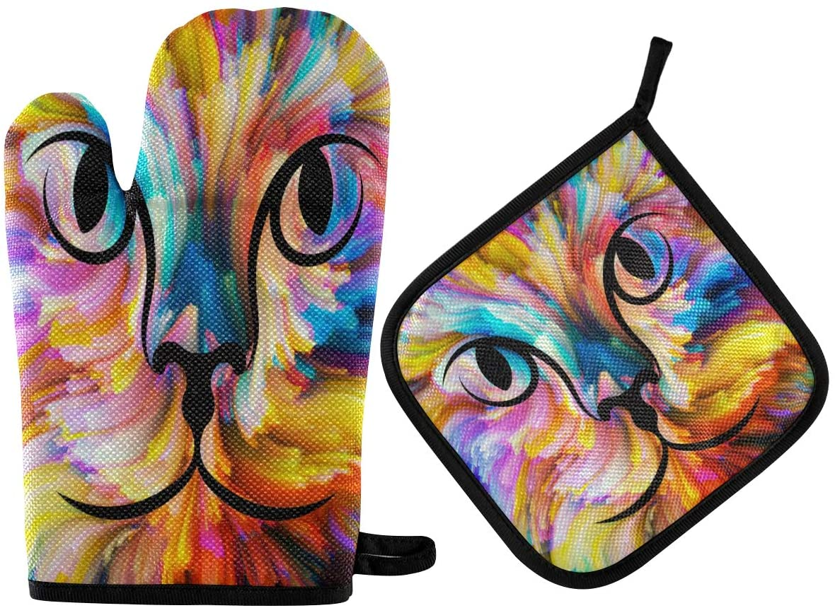 ALAZA Oven Mitts & Pot Holders, Rainbow Cat Paint Protective Heat Resistant Kitchen Microwave Gloves for Baking Cooking Grilling BBQ