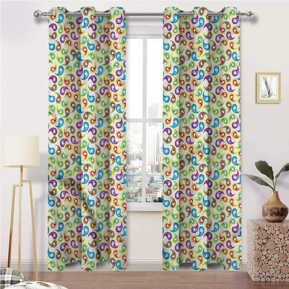 Interestlee Weatherproof Outdoor Curtains, Paisley Grommet Drapes for Patio Pergola Porch Deck, Colorful Persian Motifs Set of 2 Panels, 120 Width x 84 Length