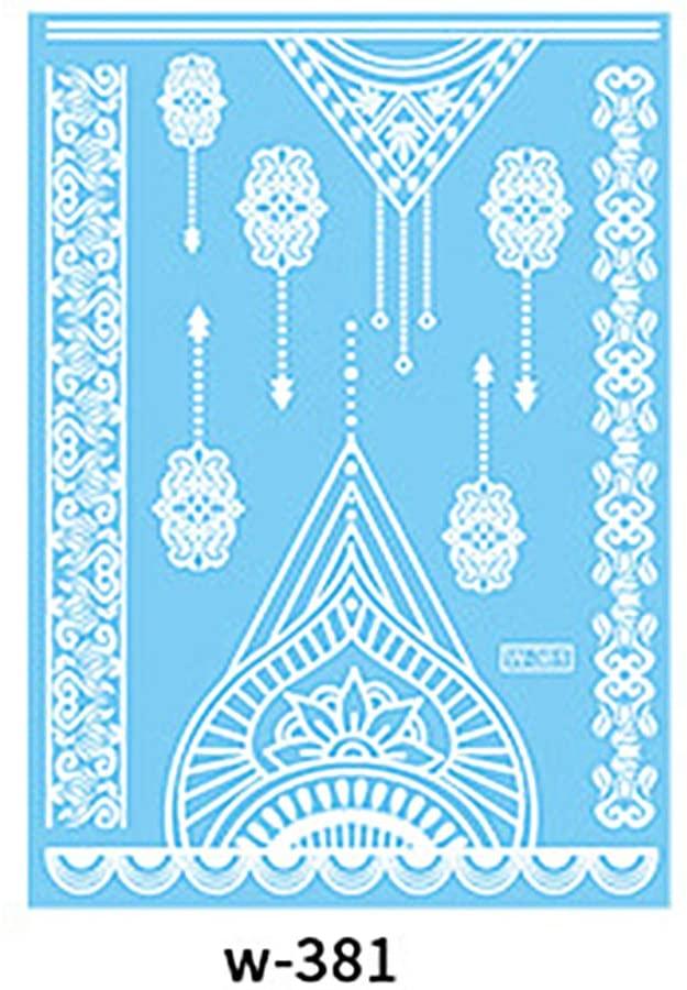 MileHouse prettDliJUN Temporary Tattoo Stickers,Waterproof Lace Flower Wedding Tattoo Sticker Hand Choker Body Art White 381