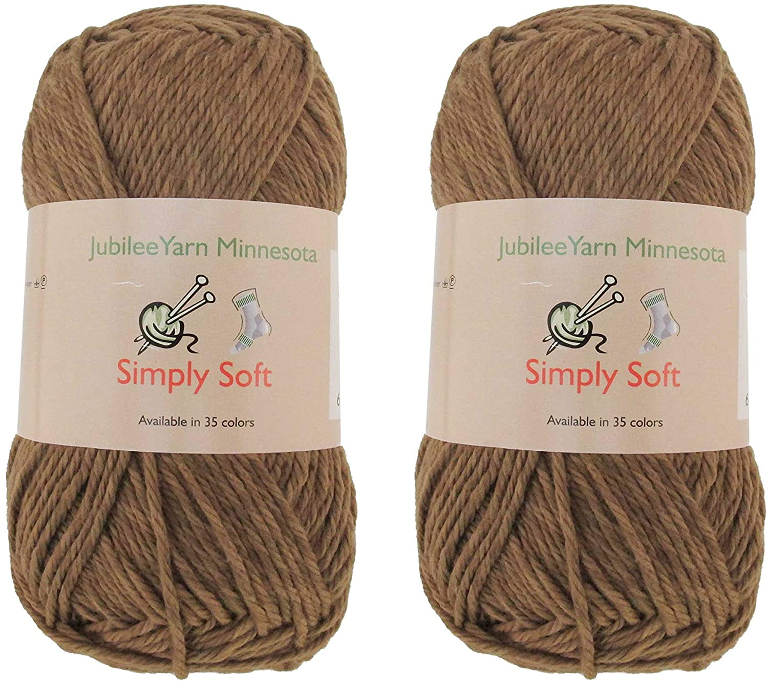 Light Weight Simply Soft Yarn 100g - 2 Skeins - 50% Cotton 50% Polyester - Chestnut Brown - Color 210