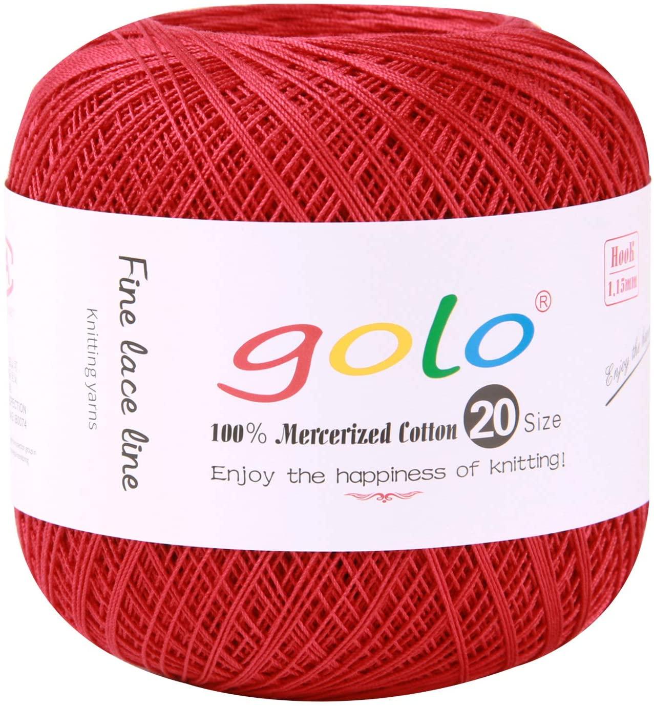 golo Crochet Yarn for Begingers Size 20 Light Wine red