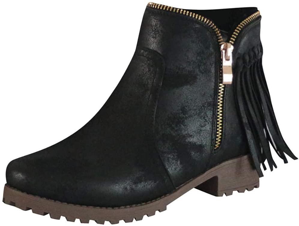 Clearance! Swiusd Women's Tassel Short Boots Retro Zipper Pointed Toe Roman Single Shoes Comfy Low Heel Non Slip Loafer Sandals