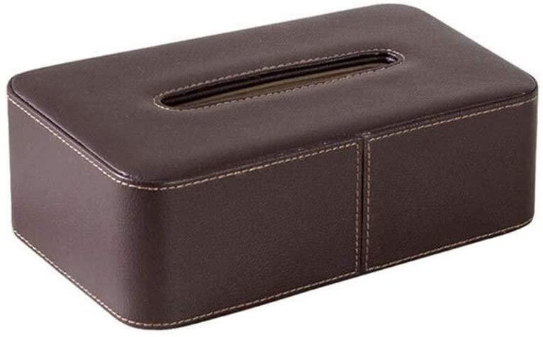 PU Leather Tissue Case -Household Living Room Hotel Tissue Box -Rectangular (Size : Black)