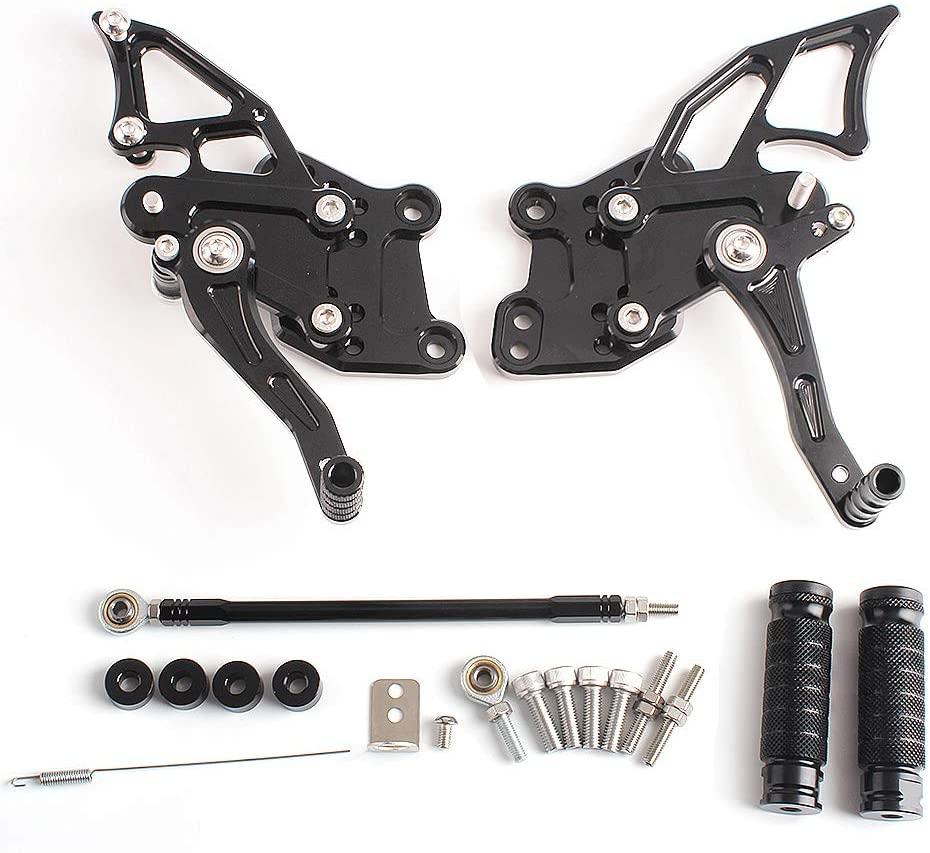 Frames & Fittings CNC Aluminum Rear Set Foot Peg Adjustable Rearset for Kawasaki Ninja 300R EX300 2013-2014 - (Color: Black)