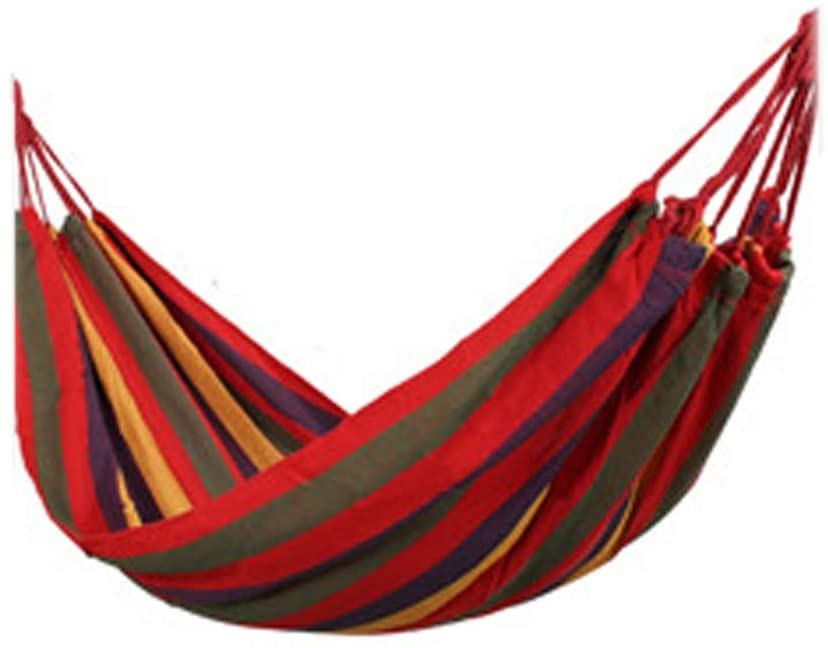 Heavy Duty Hammock Bed 2 Person Extra Large Brazilian-Style Canvas Hammock for Patio Porch Garden Backyard Lounging Outdoor and Indoor, 78x59Inch (Color : Rainbow)