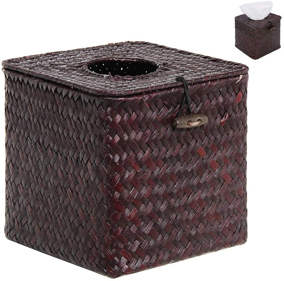 XFSD 2 Pieces Decorative Square Woven Tissue Cover Box, Handwoven Seagrass Tissue Paper Box Cover for Home Office Decoration, School and Traveling, Coffee