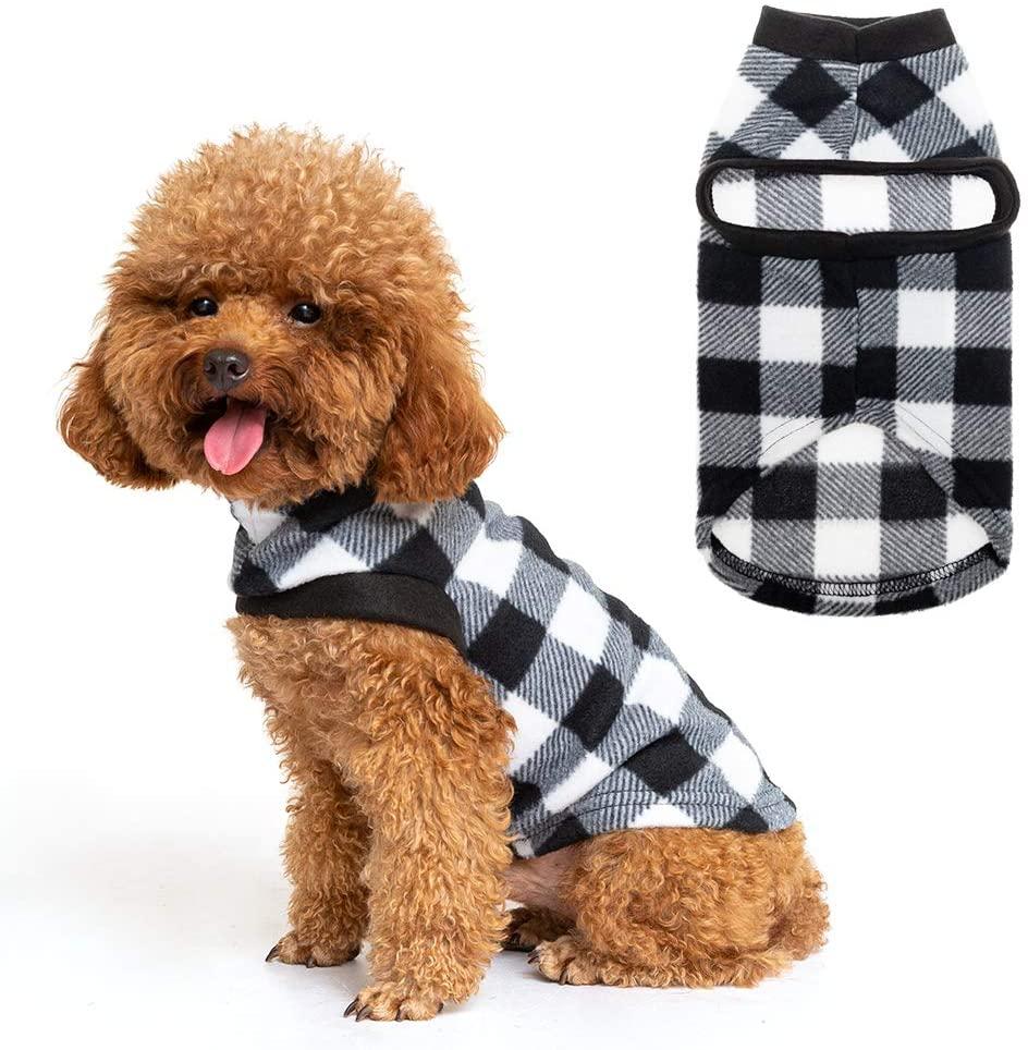 EXPAWLORER Classic Plaid Dog Hoodie Cat Sweatshirt Warm Fleece Soft Vest for Cats, Puppies, Small Animals
