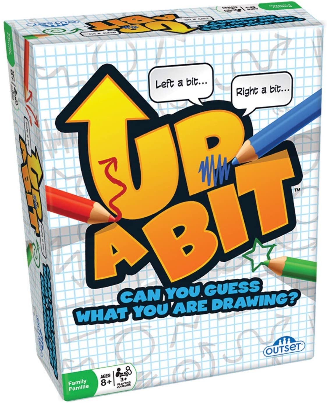 Outset Media Up a Bit Drawing Card Game - Describe an Object to Draw and Guess - Family Guessing Game Ages 8+ - Contains 100 Objects Cards, 250 Double Sided Grid Sheets