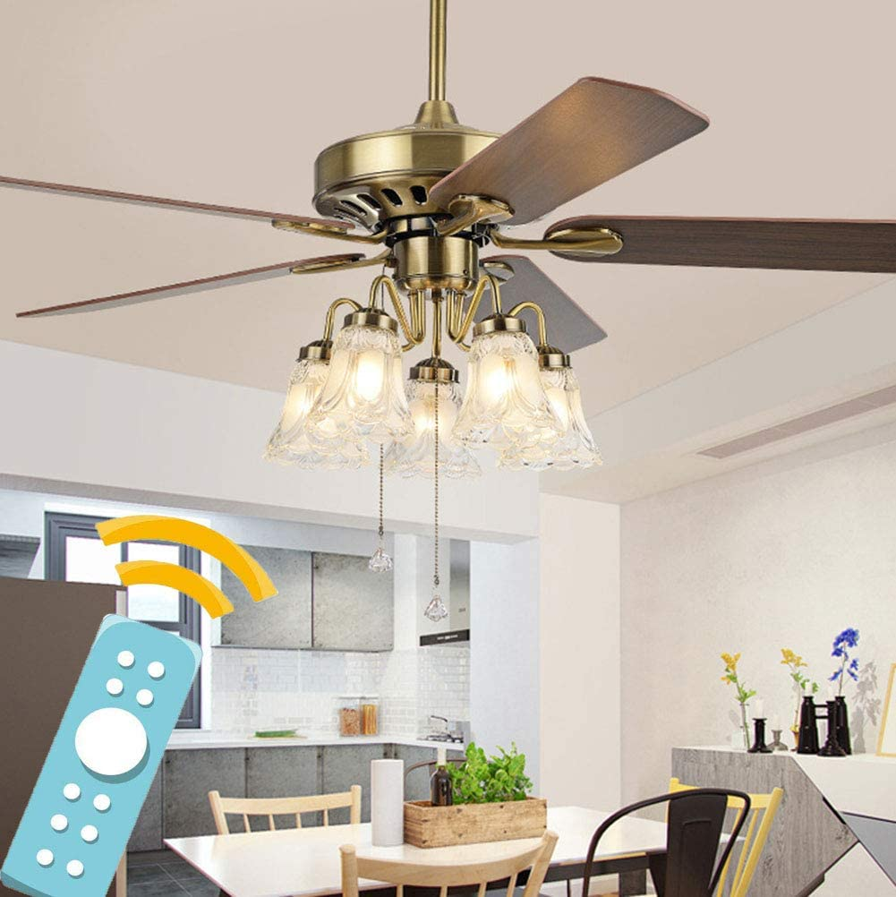 Shhjjyp Modern LED Ceiling Fan Light with Remote Control 52
