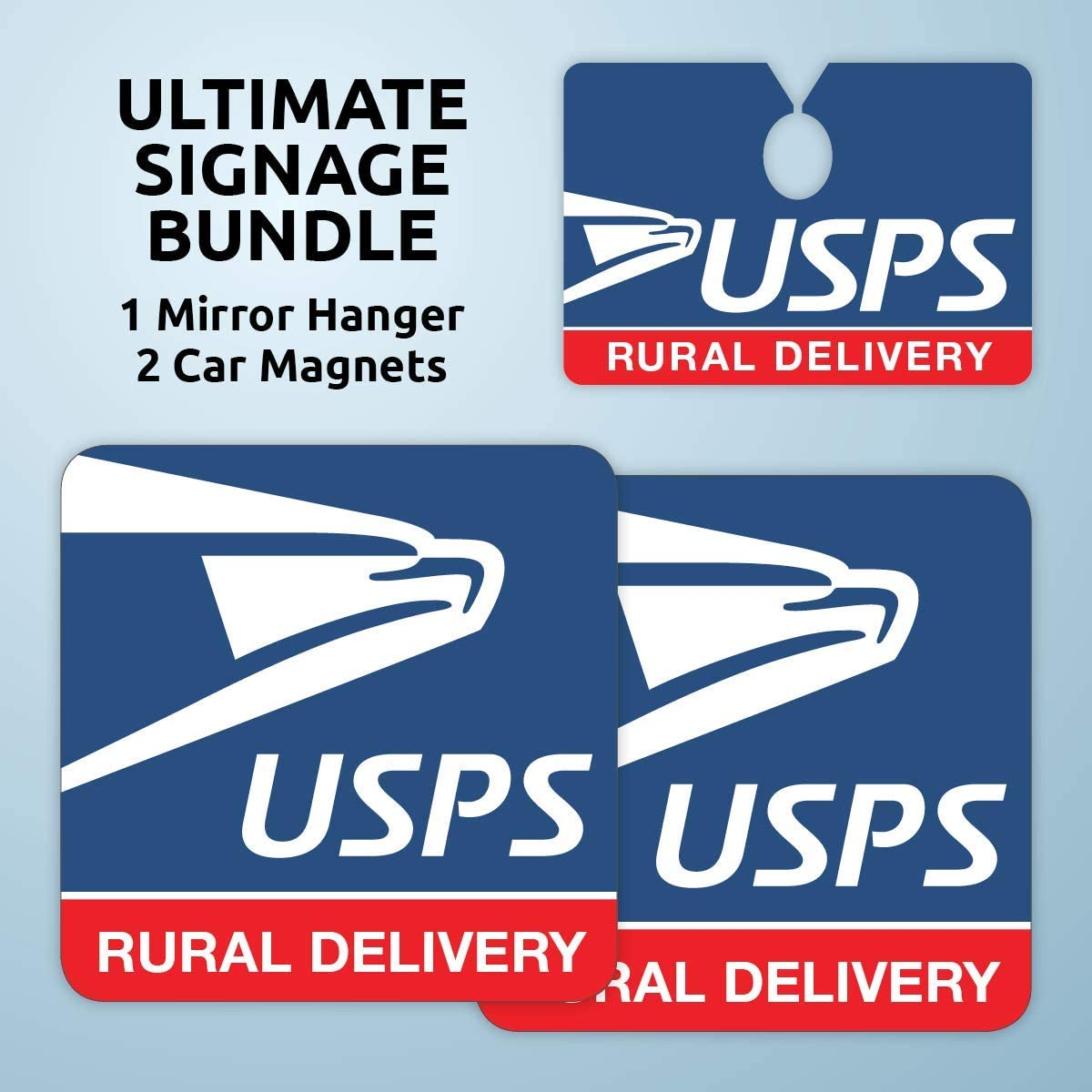 USPS Rural Carrier Signage Bundle includes Car Mirror Hanger and 2 Magnets (9x9 inches) - USPS Car Magnets, USPS Magnetic Car Signs for Rural Carrier, USPS Rural Carrier Accessories, USPS Signs