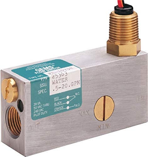 Gems Sensors FS-10798 Series Brass Flow Switch for Use with Water, Inline, Piston Type, with Lead Wires, 0.50-20 gpm Flow Setting Adjustment Range, 1/2