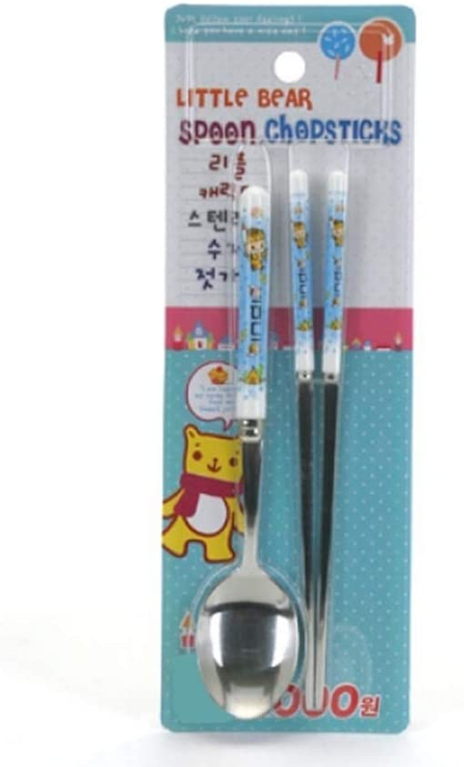 UPIT Little Character Printing Plastic Handle Stainless Steel Spoon Chopsticks SET Random Color